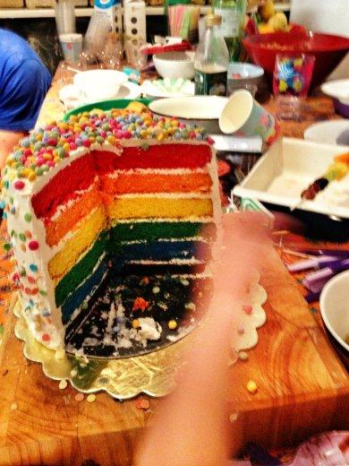 Inside the rainbow cake