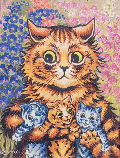 a-cat-with-her-kittens-louis-wain
